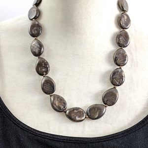Brown Black Silver Marbled Stone Necklace